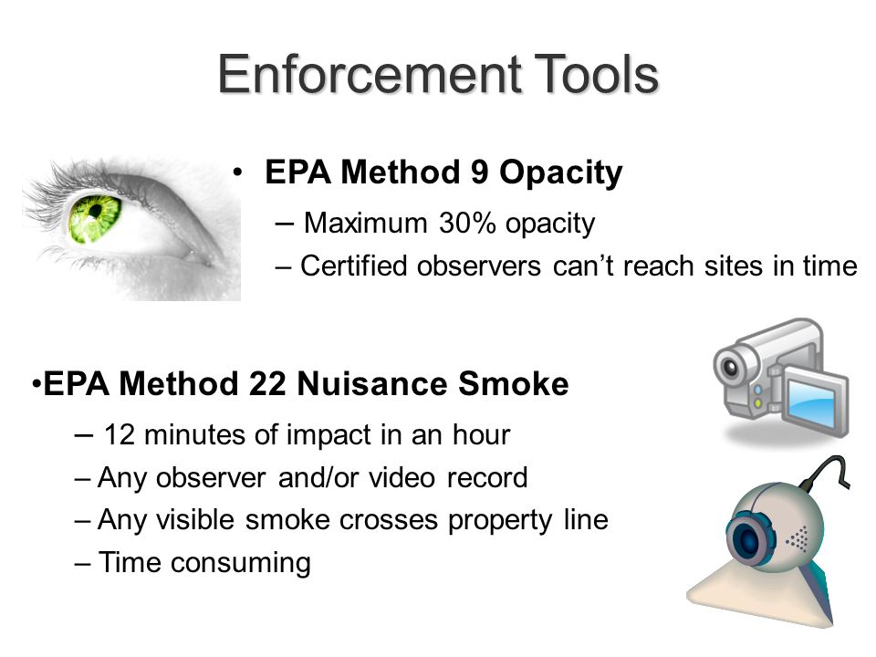 Enforcement Tools EPA Method 22 Nuisance Smoke – 12 minutes of impact in an hour – Any observer and/or video record – Any visible smoke crosses property line – Time consuming EPA Method 9 Opacity – Maximum 30% opacity – Certified observers can't reach sites in time