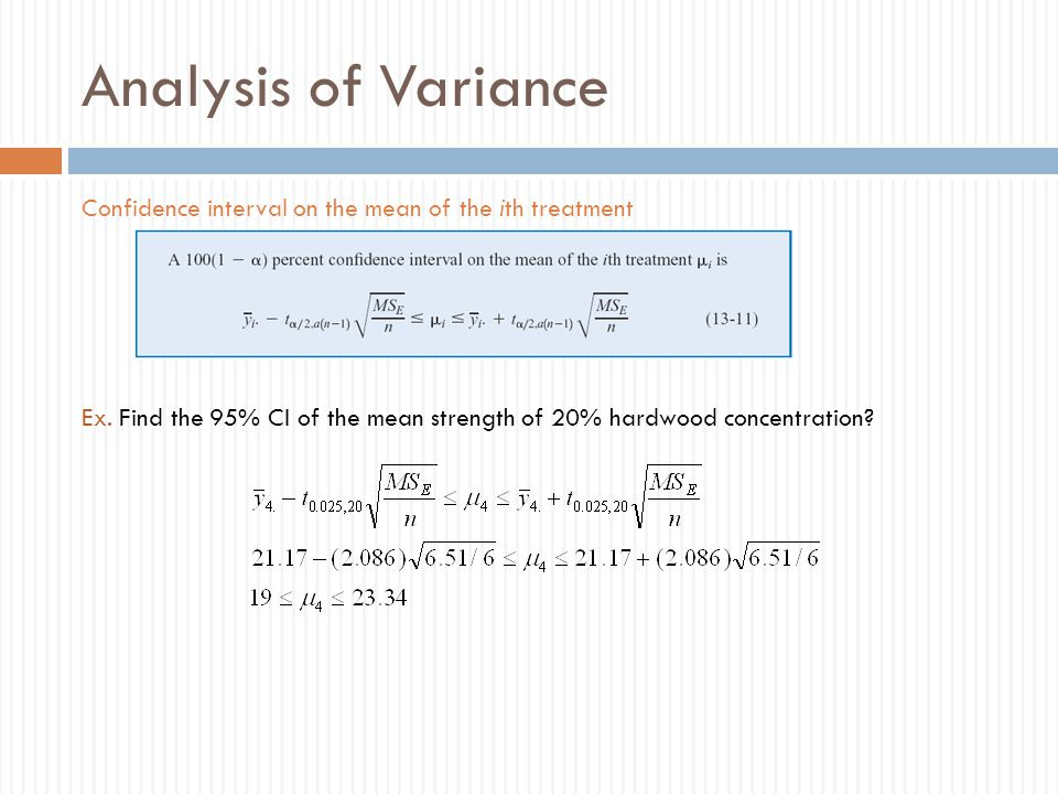 Analysis of Variance Confidence interval on the mean of the ith treatment Ex.