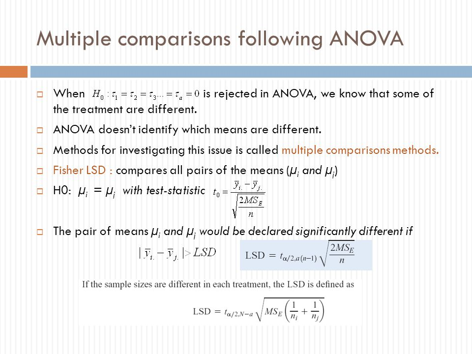 Multiple comparisons following ANOVA  When is rejected in ANOVA, we know that some of the treatment are different.