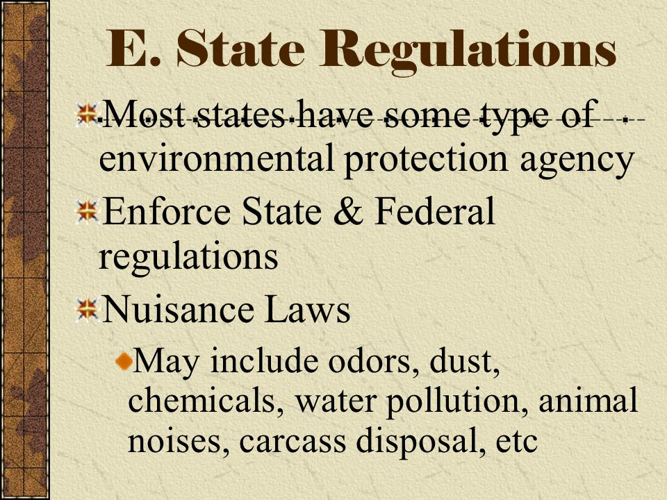D. Federal Regulations Federal Water Quality Act of 1965 Refuse Act of 1899 Solid Waste Disposal Act of 1965 Federal Clean Air Act