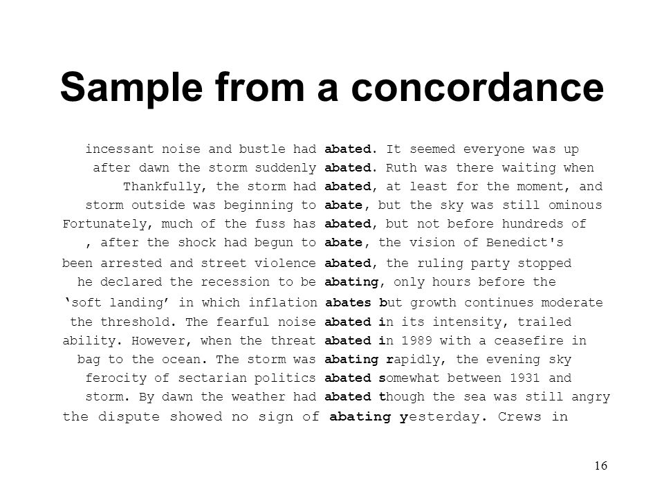 16 Sample from a concordance incessant noise and bustle had abated.
