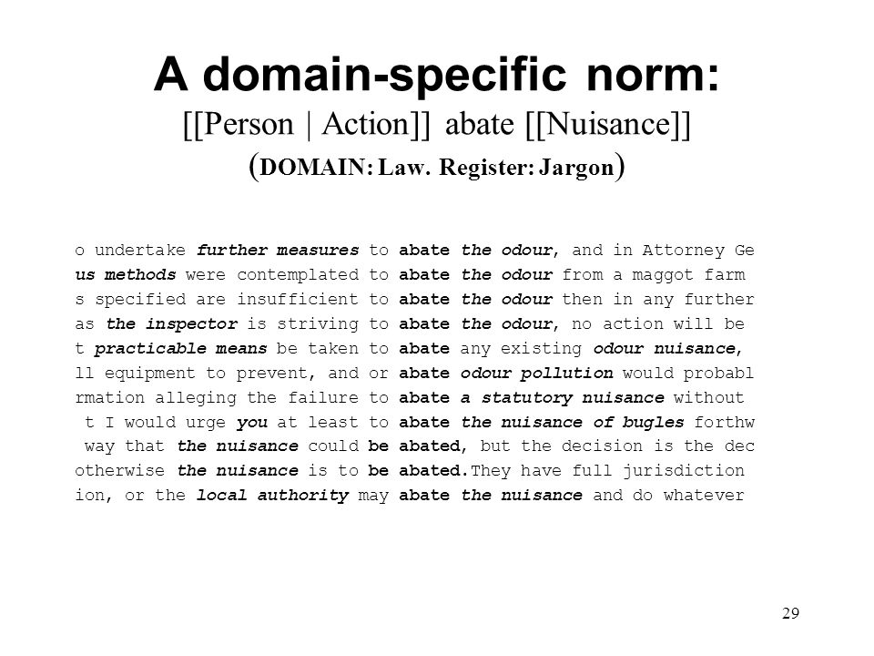 29 A domain-specific norm: [[Person | Action]] abate [[Nuisance]] ( DOMAIN: Law.