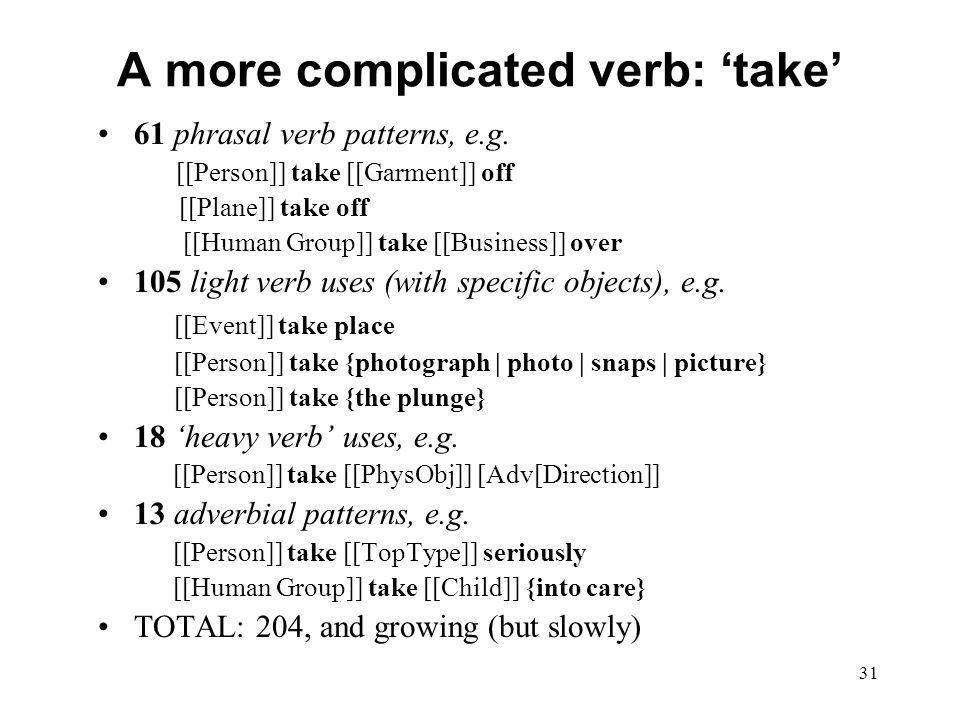 31 A more complicated verb: 'take' 61 phrasal verb patterns, e.g.