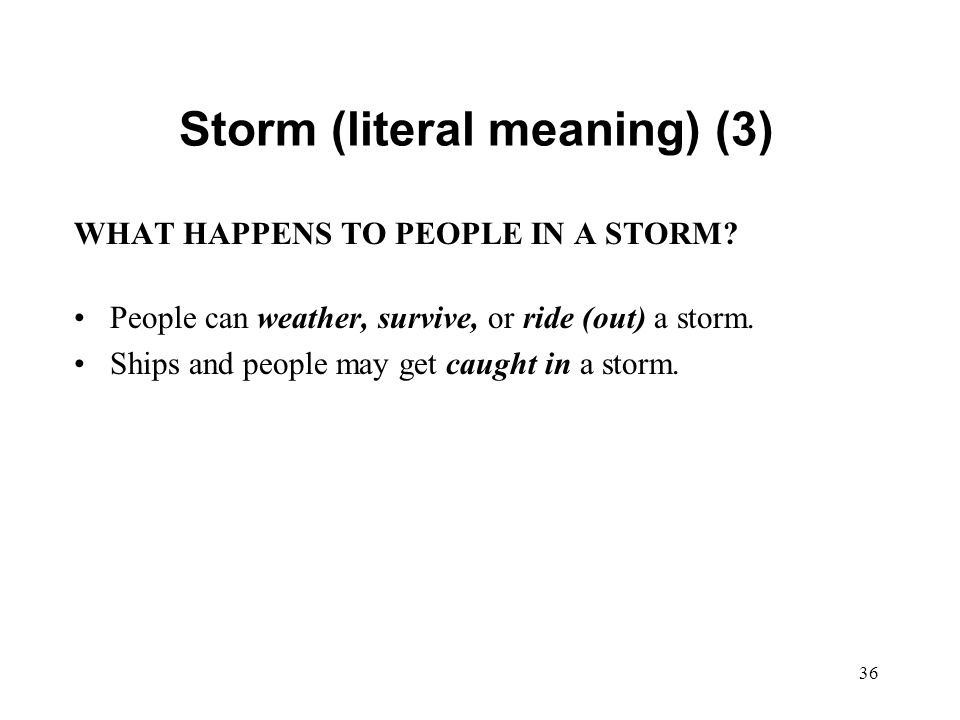 36 Storm (literal meaning) (3) WHAT HAPPENS TO PEOPLE IN A STORM.