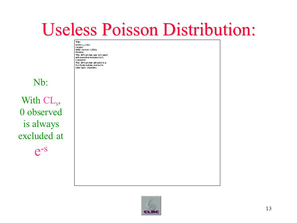 13 Useless Poisson Distribution: Nb: With CL s, 0 observed is always excluded at e -s