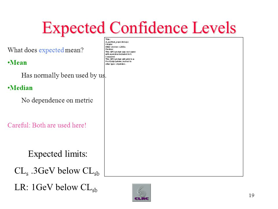 19 Expected Confidence Levels What does expected mean.