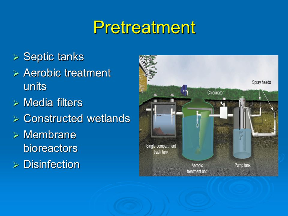Pretreatment  Septic tanks  Aerobic treatment units  Media filters  Constructed wetlands  Membrane bioreactors  Disinfection