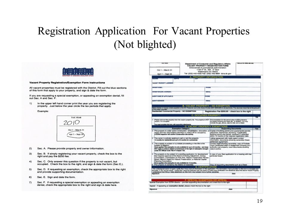 19 Registration Application For Vacant Properties (Not blighted)