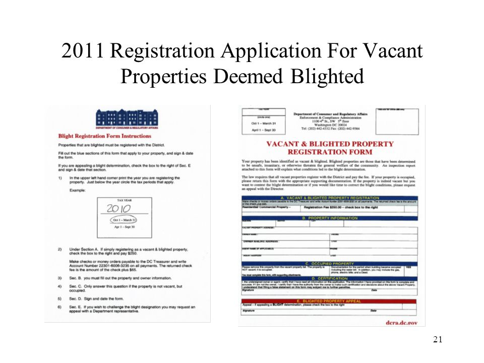 21 2011 Registration Application For Vacant Properties Deemed Blighted