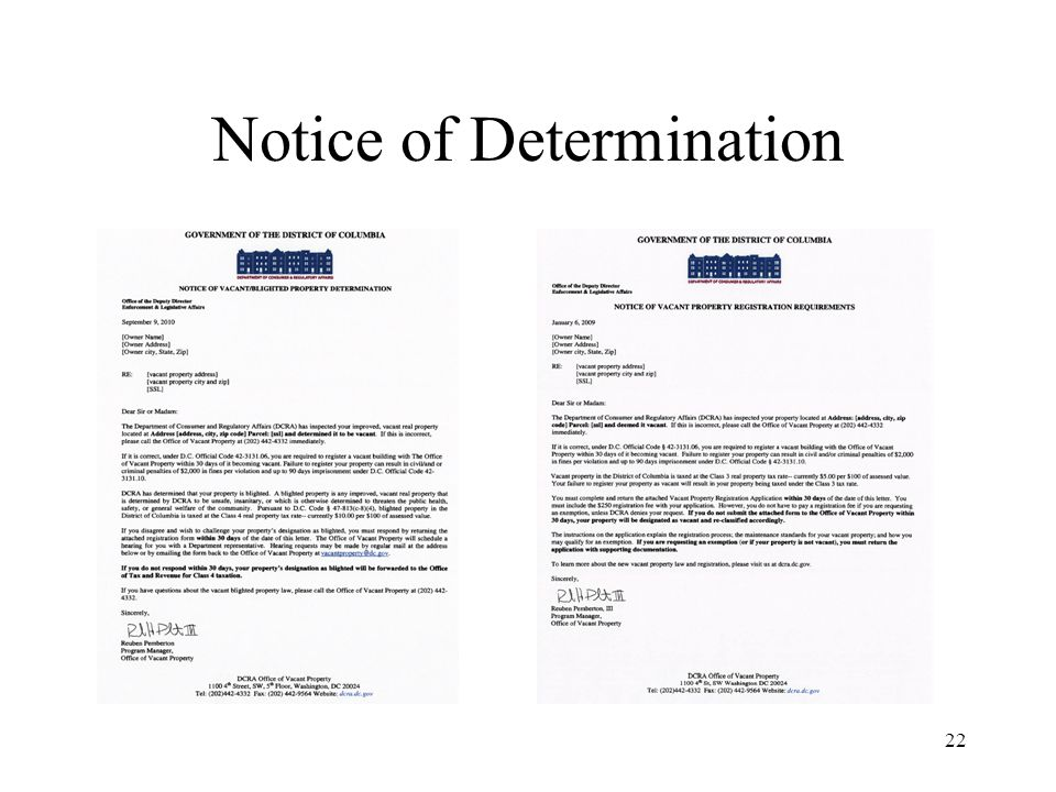 22 Notice of Determination