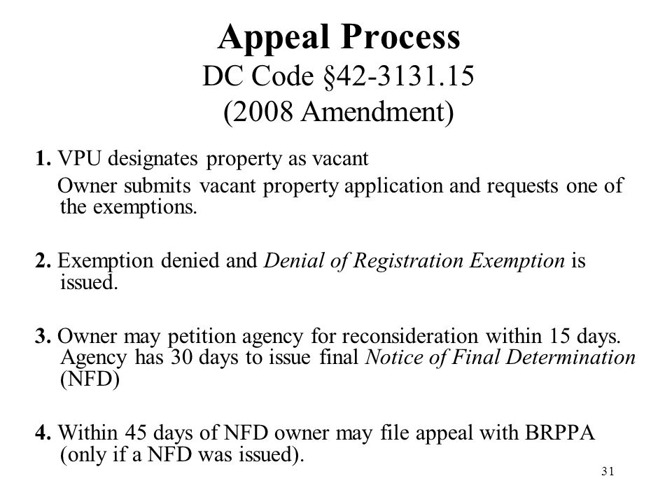 31 Appeal Process DC Code §42-3131.15 (2008 Amendment) 1.