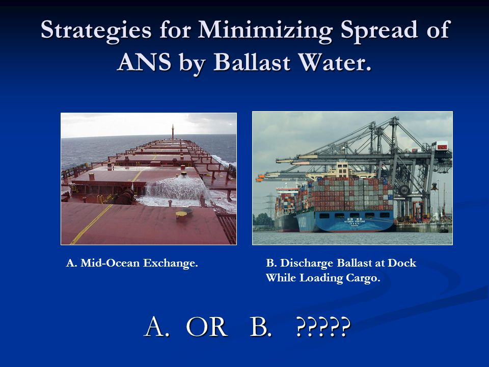 Strategies for Minimizing Spread of ANS by Ballast Water.