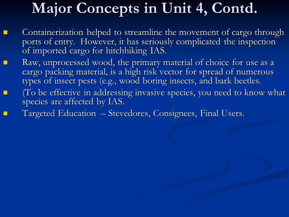 Major Concepts in Unit 4, Contd.