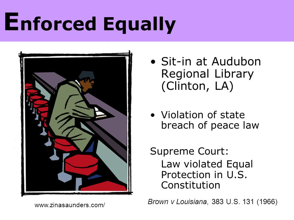 U.S. Supreme Court Sit-in at Audubon Regional Library (Clinton, LA) Violation of state breach of peace law Supreme Court: Law violated Equal Protectio