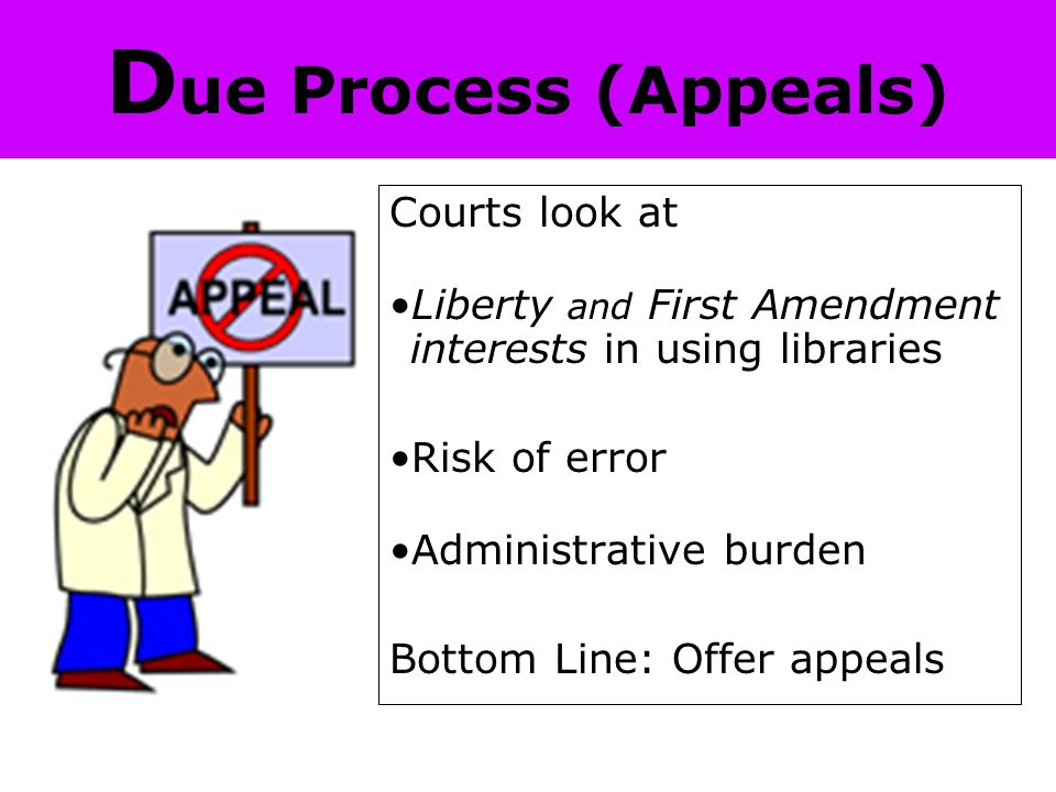 D ue Process (Appeals) Courts look at Liberty and First Amendment interests in using libraries Risk of error Administrative burden Bottom Line: Offer