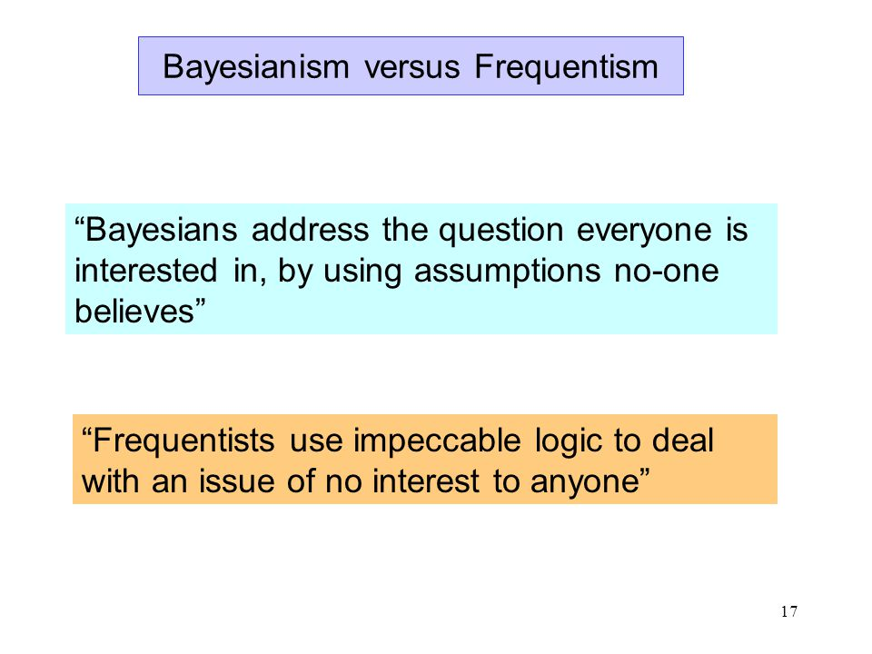 17 Bayesianism versus Frequentism Bayesians address the question everyone is interested in, by using assumptions no-one believes Frequentists use impeccable logic to deal with an issue of no interest to anyone