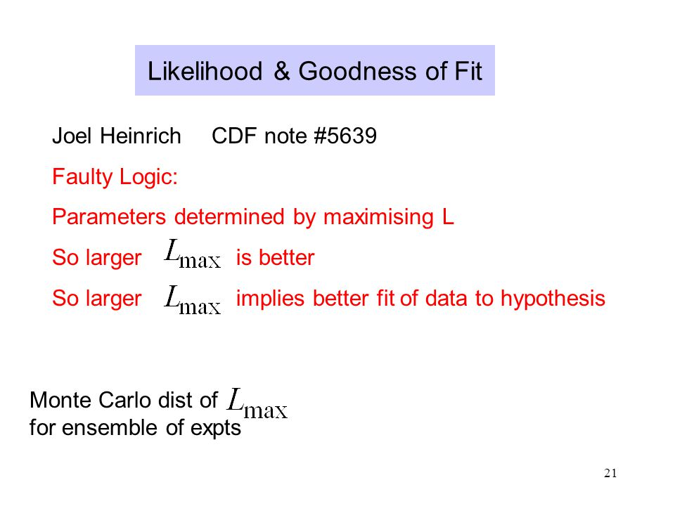 21 Likelihood & Goodness of Fit Joel Heinrich CDF note #5639 Faulty Logic: Parameters determined by maximising L So larger is better So larger implies better fit of data to hypothesis Monte Carlo dist of for ensemble of expts