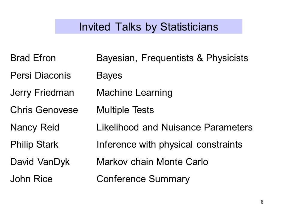 8 Invited Talks by Statisticians Brad EfronBayesian, Frequentists & Physicists Persi DiaconisBayes Jerry FriedmanMachine Learning Chris GenoveseMultiple Tests Nancy ReidLikelihood and Nuisance Parameters Philip StarkInference with physical constraints David VanDykMarkov chain Monte Carlo John RiceConference Summary
