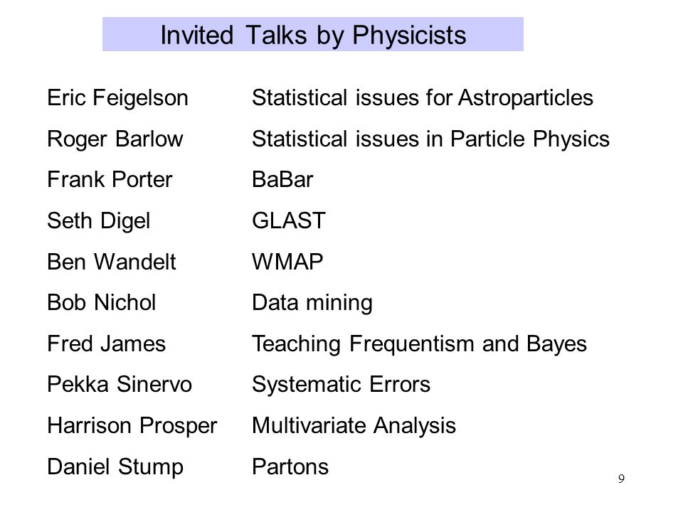 9 Invited Talks by Physicists Eric FeigelsonStatistical issues for Astroparticles Roger BarlowStatistical issues in Particle Physics Frank PorterBaBar Seth DigelGLAST Ben WandeltWMAP Bob NicholData mining Fred JamesTeaching Frequentism and Bayes Pekka SinervoSystematic Errors Harrison ProsperMultivariate Analysis Daniel StumpPartons