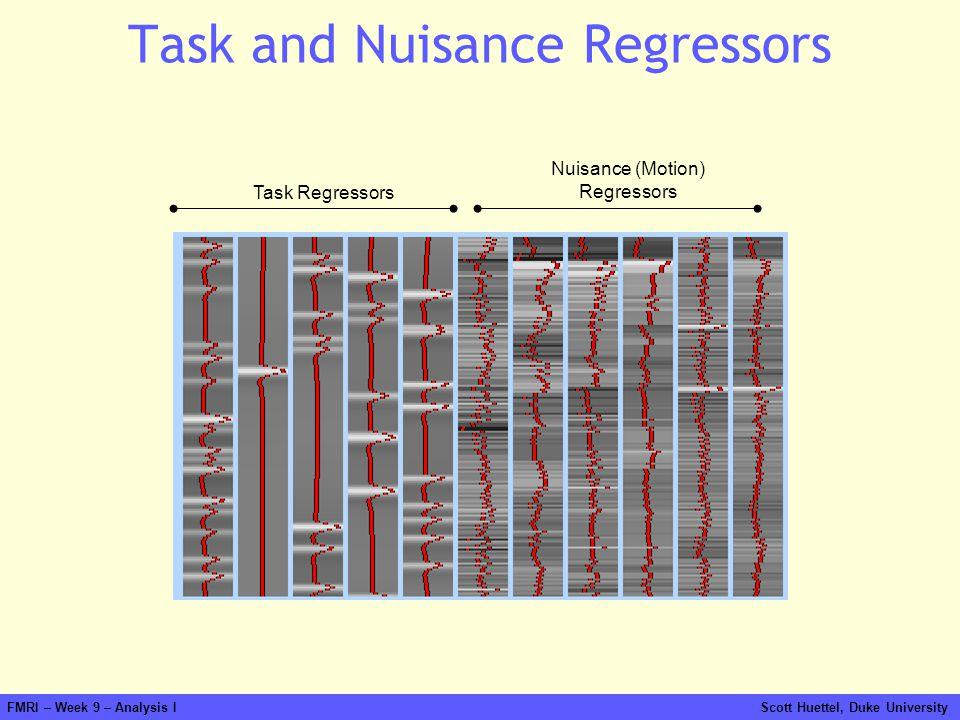 FMRI – Week 9 – Analysis I Scott Huettel, Duke University Task and Nuisance Regressors Task Regressors Nuisance (Motion) Regressors