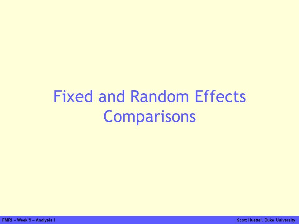 FMRI – Week 9 – Analysis I Scott Huettel, Duke University Fixed and Random Effects Comparisons