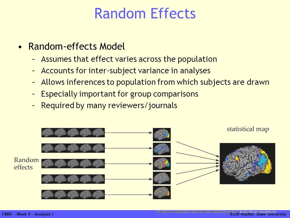 FMRI – Week 9 – Analysis I Scott Huettel, Duke University Random Effects Random-effects Model –Assumes that effect varies across the population –Accou