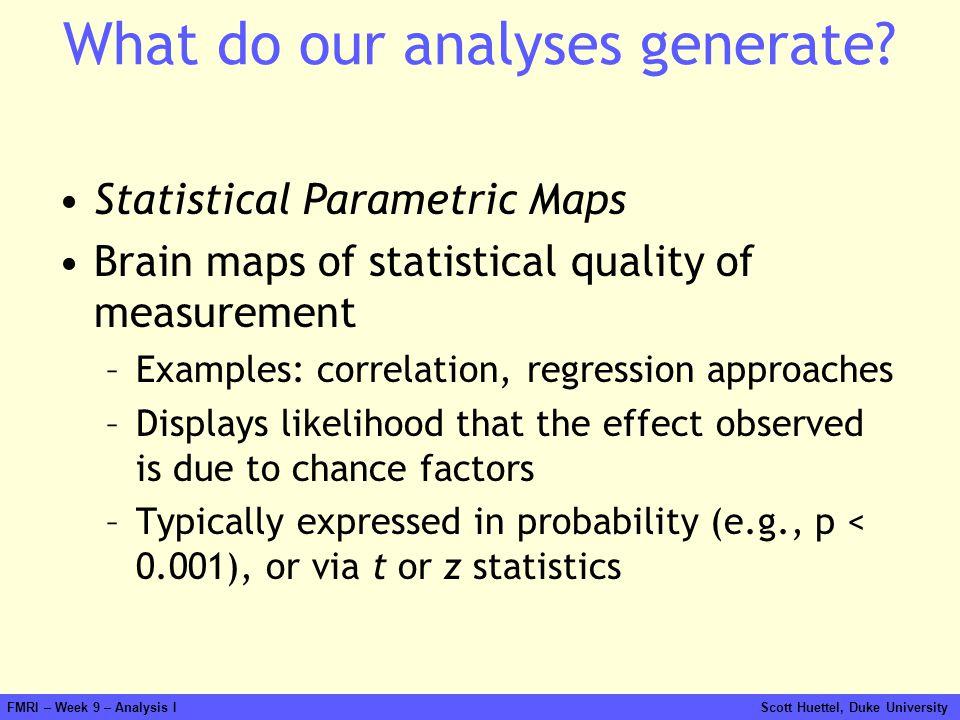 FMRI – Week 9 – Analysis I Scott Huettel, Duke University What do our analyses generate? Statistical Parametric Maps Brain maps of statistical quality