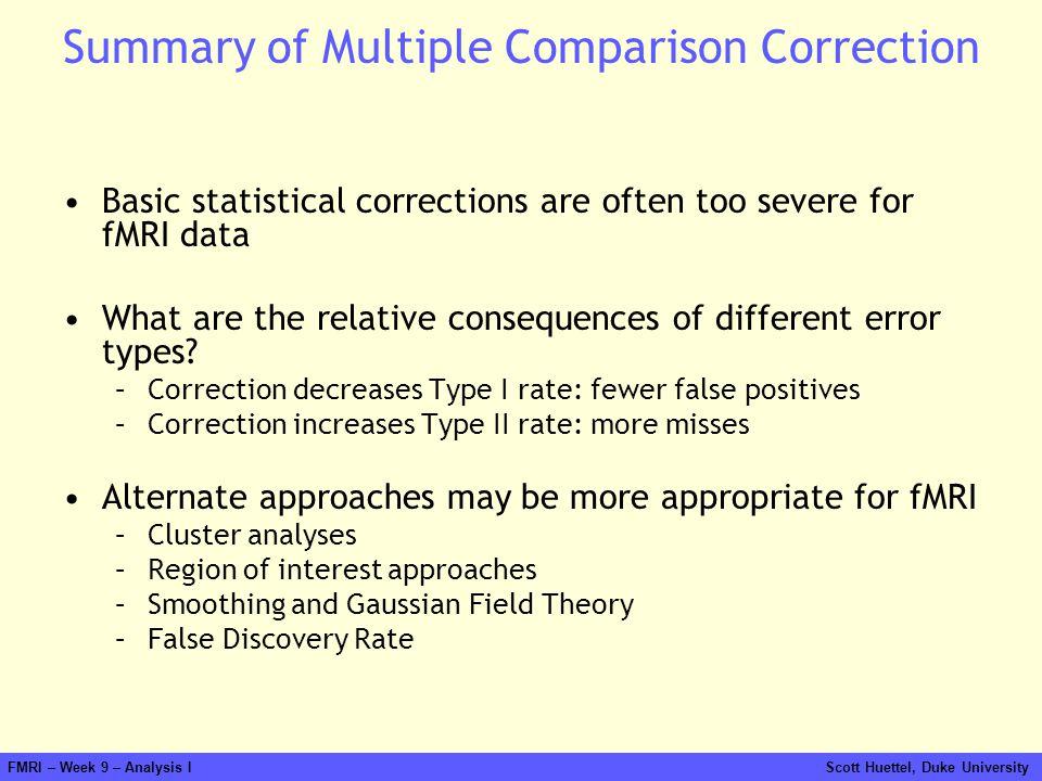 FMRI – Week 9 – Analysis I Scott Huettel, Duke University Summary of Multiple Comparison Correction Basic statistical corrections are often too severe