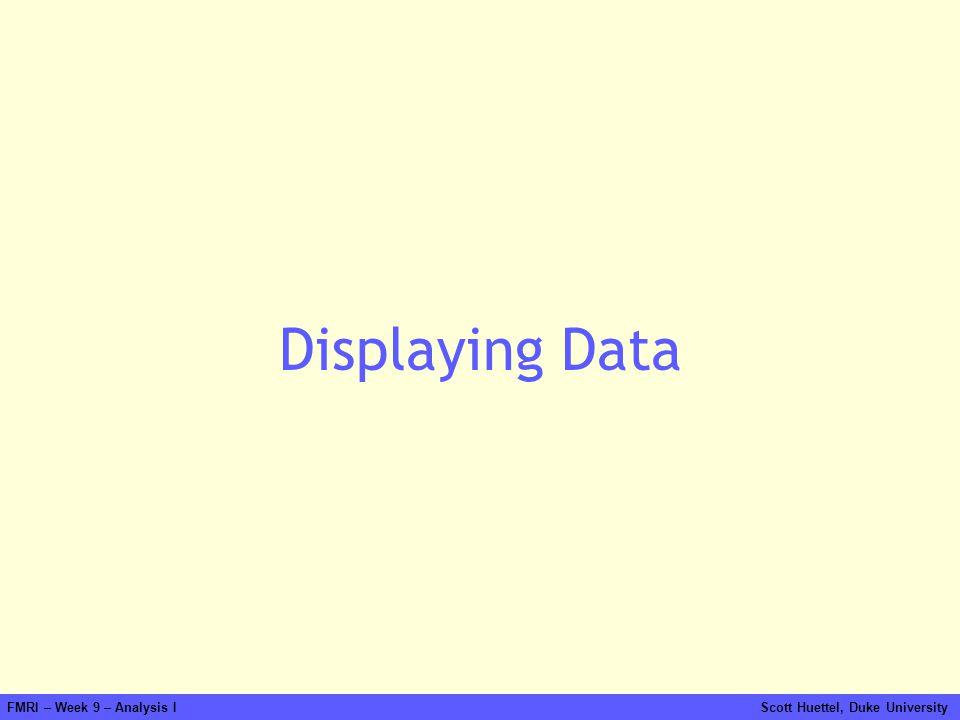 FMRI – Week 9 – Analysis I Scott Huettel, Duke University Displaying Data