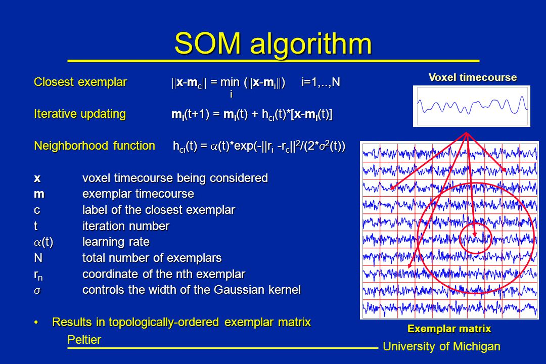 University of Michigan Peltier SOM algorithm Closest exemplar  x-m c  = min (  x-m i  ) i=1,..,N Iterative updating m i (t+1) = m i (t) + h ci (t)*[x-m i (t)] Neighborhood function h ci (t) =  (t)*exp(-||r i -r c || 2 /(2*  2 (t)) xvoxel timecourse being considered mexemplar timecourse clabel of the closest exemplar titeration number  (t)learning rate N total number of exemplars r n coordinate of the nth exemplar  controls the width of the Gaussian kernel Results in topologically-ordered exemplar matrixResults in topologically-ordered exemplar matrix Voxel timecourse Exemplar matrix i