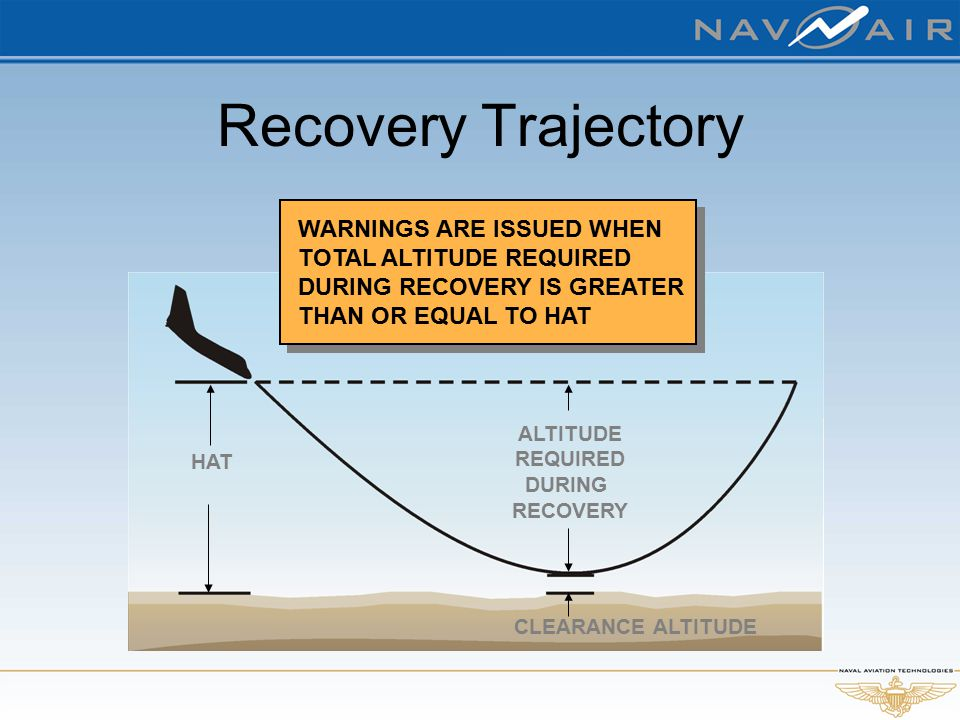 Recovery Trajectory HAT ALTITUDE REQUIRED DURING RECOVERY WARNINGS ARE ISSUED WHEN TOTAL ALTITUDE REQUIRED DURING RECOVERY IS GREATER THAN OR EQUAL TO