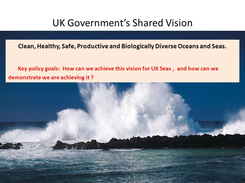 2008202020102012201420152016 Directive transposed Initial assessment of UK seas GES defined, including targets and indicators Monitoring programme established Programme of measures implemented GES achieved for UK seas Summary: Directive's requirements
