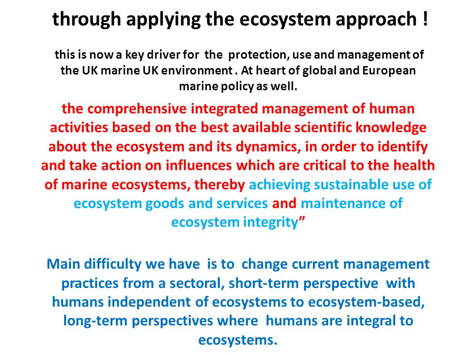 through applying the ecosystem approach .
