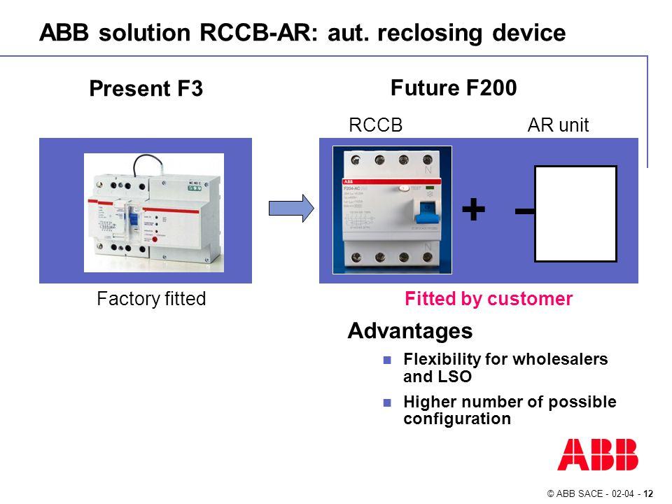 © ABB SACE - 02-04 - 12 ABB solution RCCB-AR: aut.