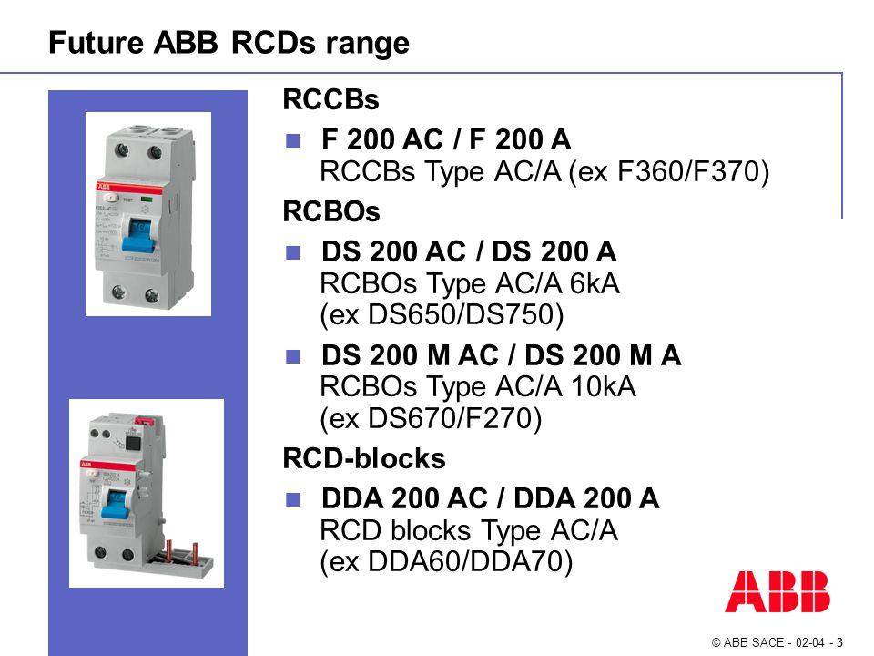 © ABB SACE - 02-04 - 3 RCCBs F 200 AC / F 200 A RCCBs Type AC/A (ex F360/F370) RCBOs DS 200 AC / DS 200 A RCBOs Type AC/A 6kA (ex DS650/DS750) DS 200 M AC / DS 200 M A RCBOs Type AC/A 10kA (ex DS670/F270) RCD-blocks DDA 200 AC / DDA 200 A RCD blocks Type AC/A (ex DDA60/DDA70) Future ABB RCDs range