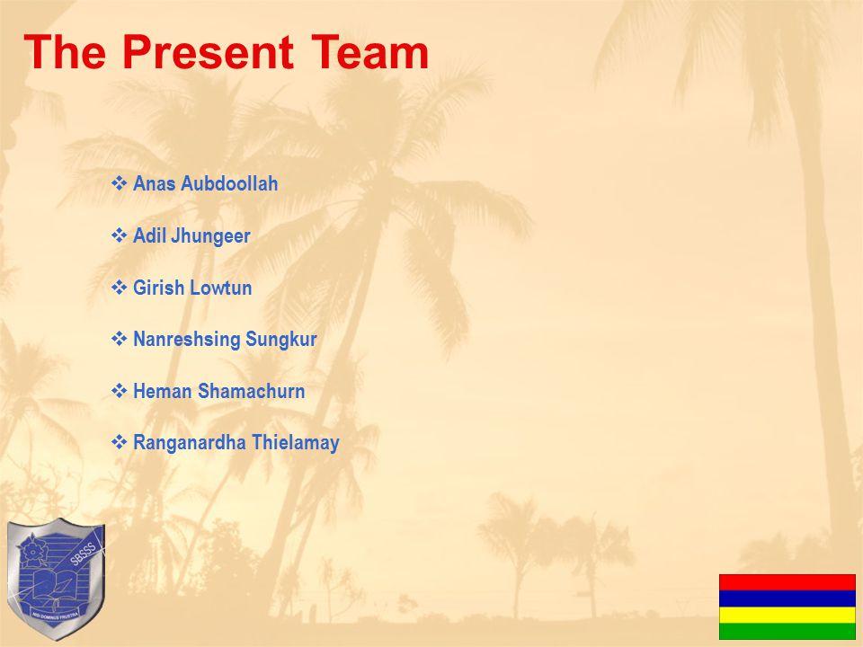 The Present Team  Anas Aubdoollah  Adil Jhungeer  Girish Lowtun  Nanreshsing Sungkur  Heman Shamachurn  Ranganardha Thielamay