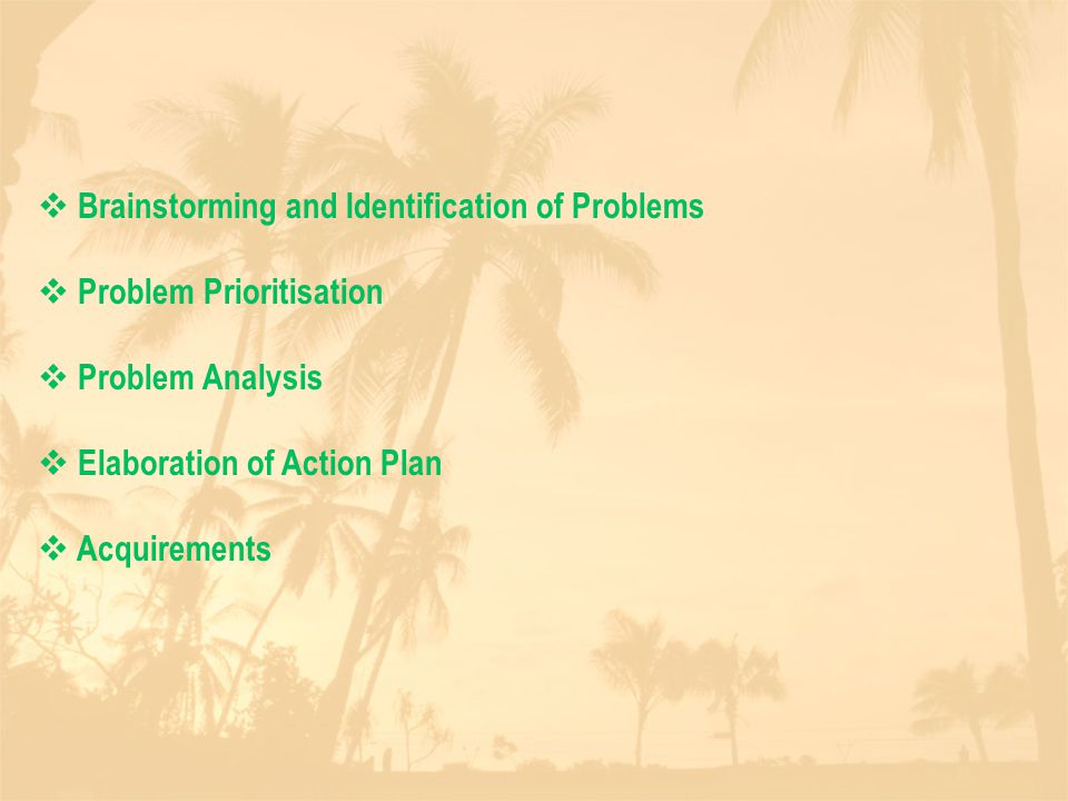  Brainstorming and Identification of Problems  Problem Prioritisation  Problem Analysis  Elaboration of Action Plan  Acquirements