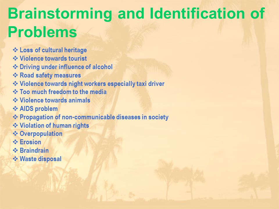 Brainstorming and Identification of Problems  Loss of cultural heritage  Violence towards tourist  Driving under influence of alcohol  Road safety measures  Violence towards night workers especially taxi driver  Too much freedom to the media  Violence towards animals  AIDS problem  Propagation of non-communicable diseases in society  Violation of human rights  Overpopulation  Erosion  Braindrain  Waste disposal