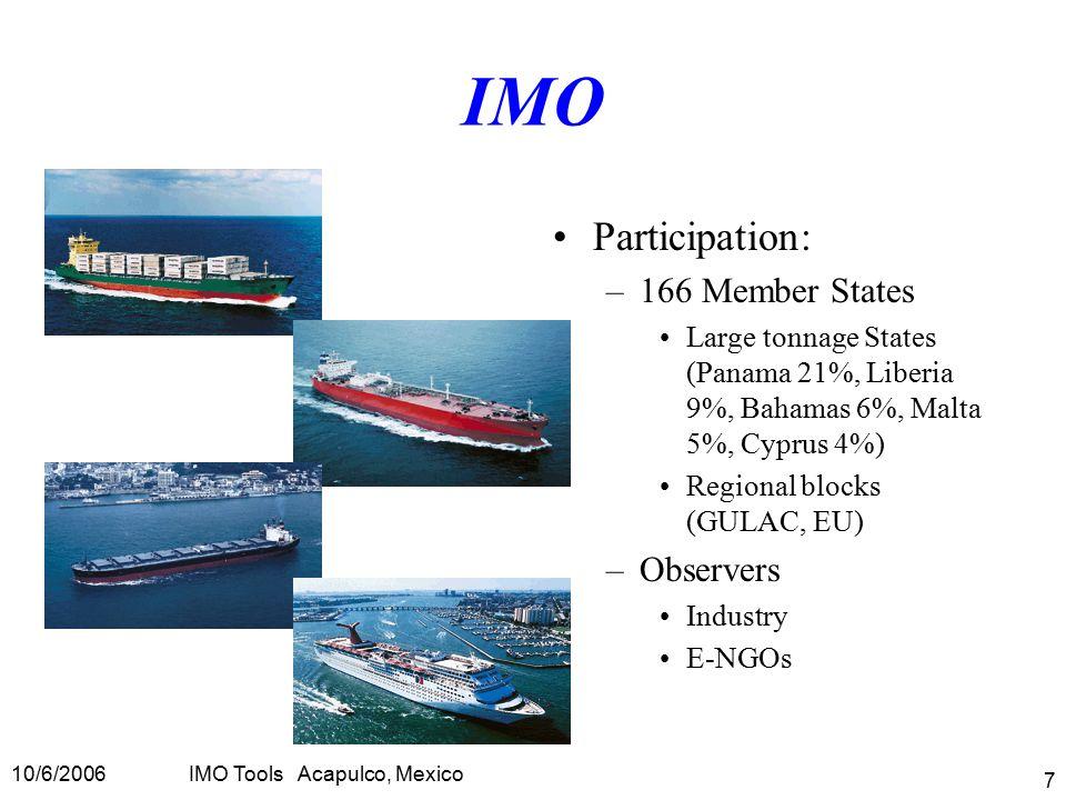 10/6/2006IMO Tools Acapulco, Mexico 7 IMO Participation: –166 Member States Large tonnage States (Panama 21%, Liberia 9%, Bahamas 6%, Malta 5%, Cyprus 4%) Regional blocks (GULAC, EU) –Observers Industry E-NGOs