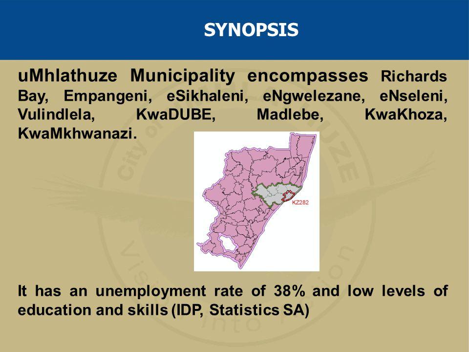 uMhlathuze Municipality encompasses Richards Bay, Empangeni, eSikhaleni, eNgwelezane, eNseleni, Vulindlela, KwaDUBE, Madlebe, KwaKhoza, KwaMkhwanazi.