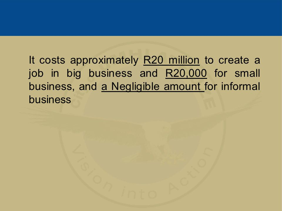 It costs approximately R20 million to create a job in big business and R20,000 for small business, and a Negligible amount for informal business