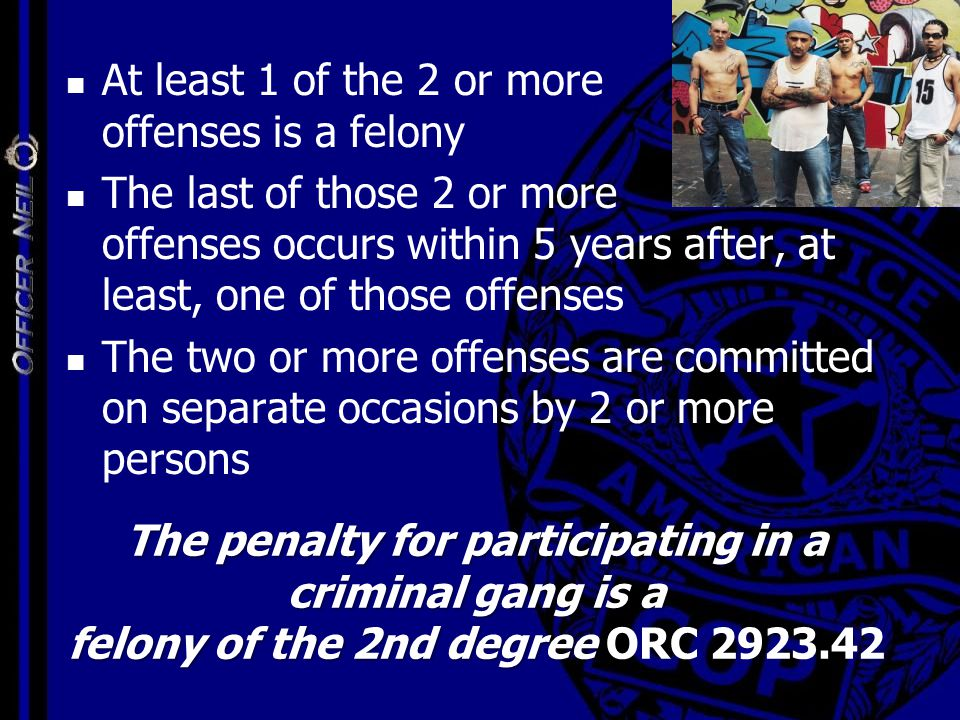 The penalty for participating in a criminal gang is a felony of the 2nd degree The penalty for participating in a criminal gang is a felony of the 2nd