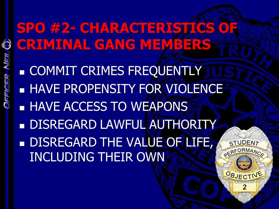 SPO #2- CHARACTERISTICS OF CRIMINAL GANG MEMBERS COMMIT CRIMES FREQUENTLY COMMIT CRIMES FREQUENTLY HAVE PROPENSITY FOR VIOLENCE HAVE PROPENSITY FOR VI