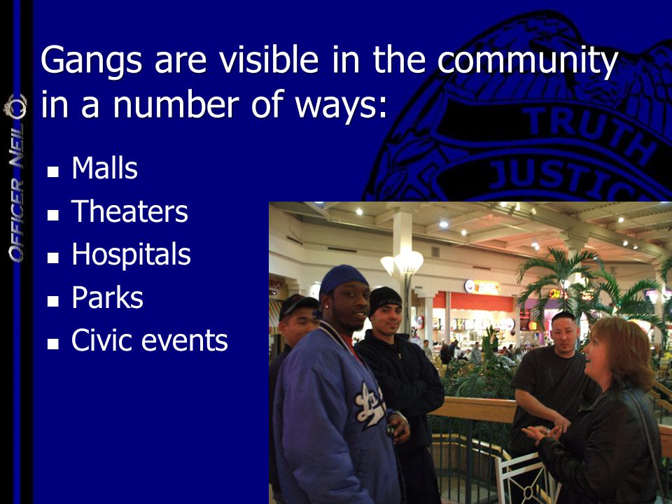 Malls Theaters Hospitals Parks Civic events Gangs are visible in the community in a number of ways: