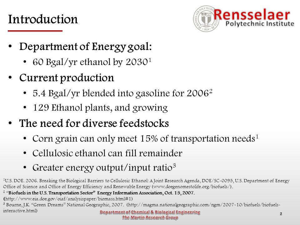 2 Introduction Department of Energy goal: 60 Bgal/yr ethanol by 2030 1 Current production 5.4 Bgal/yr blended into gasoline for 2006 2 129 Ethanol pla