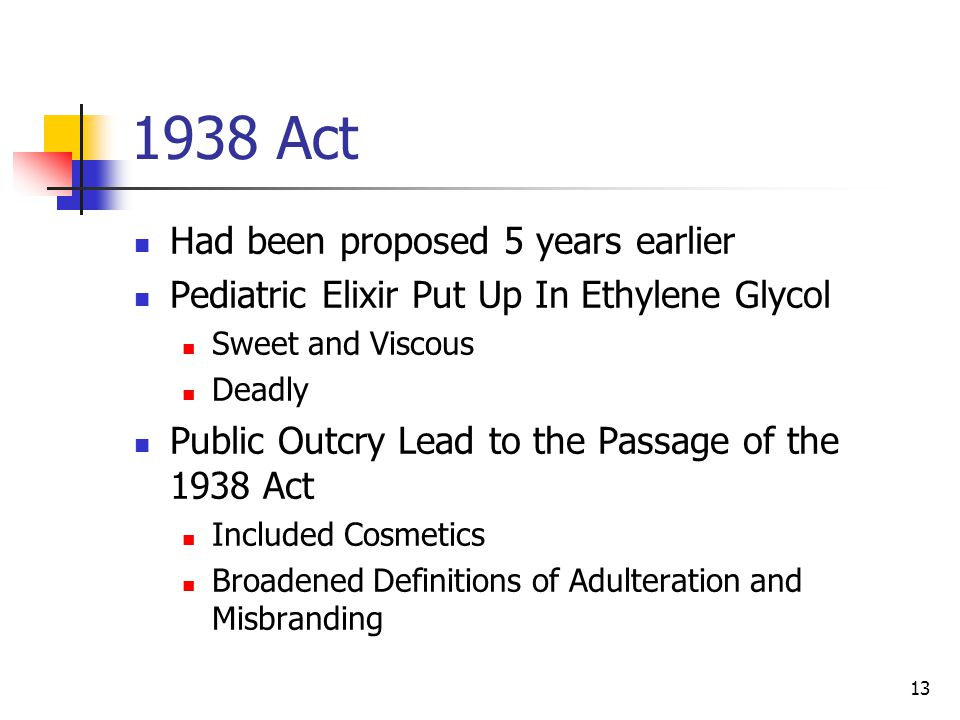 13 1938 Act Had been proposed 5 years earlier Pediatric Elixir Put Up In Ethylene Glycol Sweet and Viscous Deadly Public Outcry Lead to the Passage of the 1938 Act Included Cosmetics Broadened Definitions of Adulteration and Misbranding