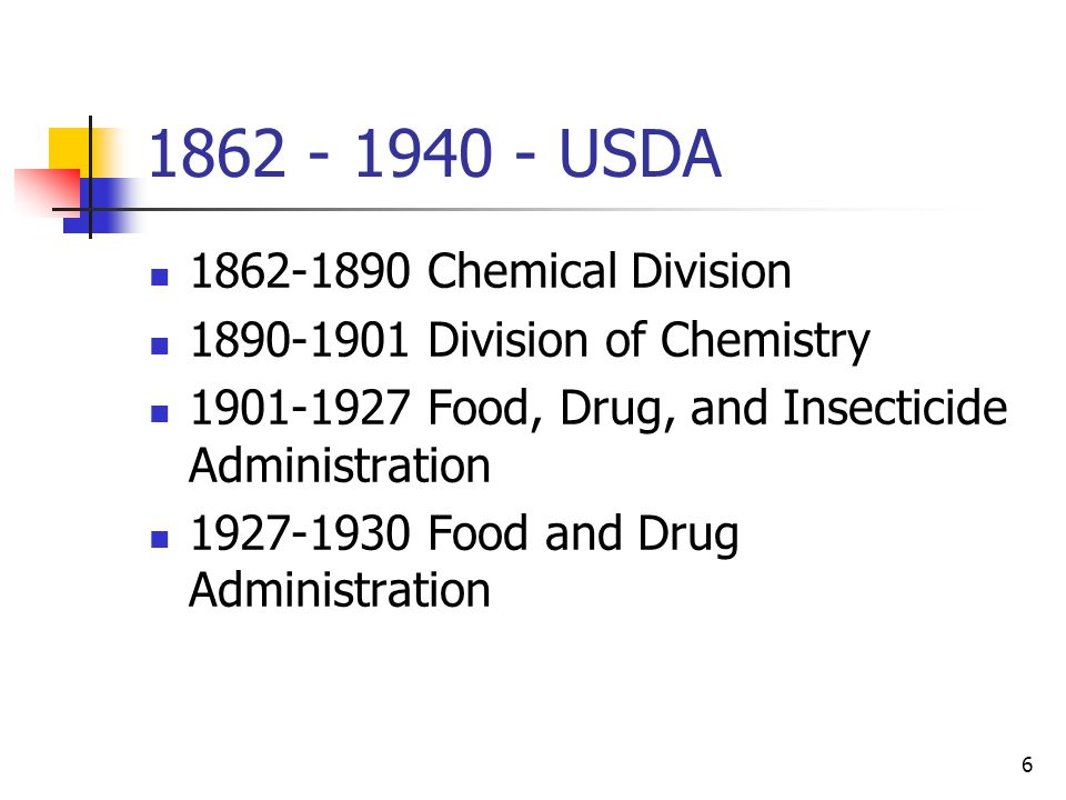 6 1862 - 1940 - USDA 1862-1890 Chemical Division 1890-1901 Division of Chemistry 1901-1927 Food, Drug, and Insecticide Administration 1927-1930 Food and Drug Administration