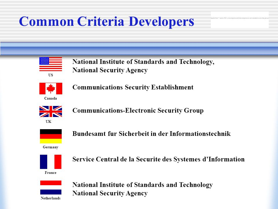US Canada UK Germany France Netherlands National Institute of Standards and Technology, National Security Agency Common Criteria Developer s Communications Security Establishment Communications-Electronic Security Group Bundesamt fur Sicherbeit in der Informationstechnik Service Central de la Securite des Systemes d'Information National Institute of Standards and Technology National Security Agency