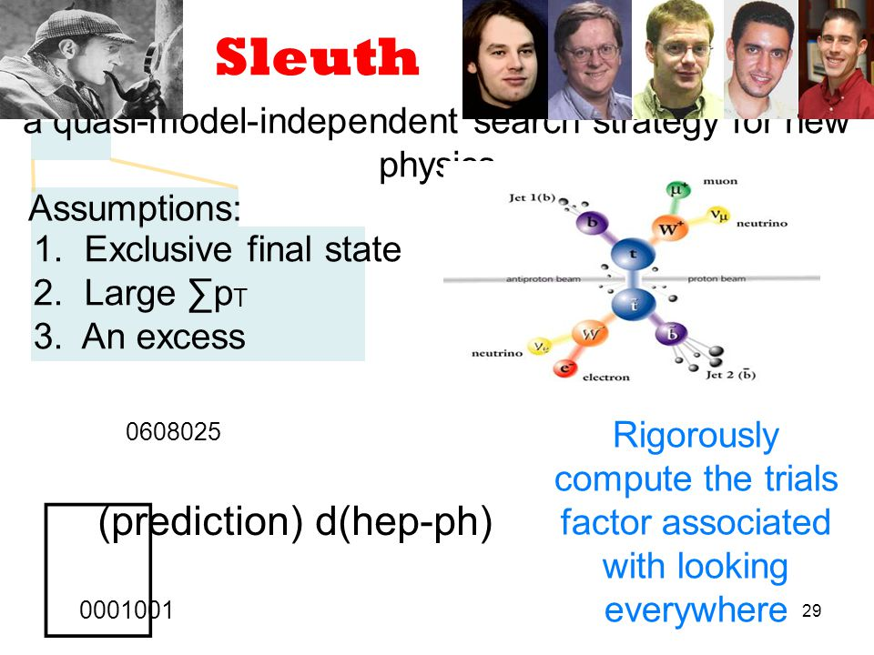 29 Sleuth a quasi-model-independent search strategy for new physics Assumptions: 1.