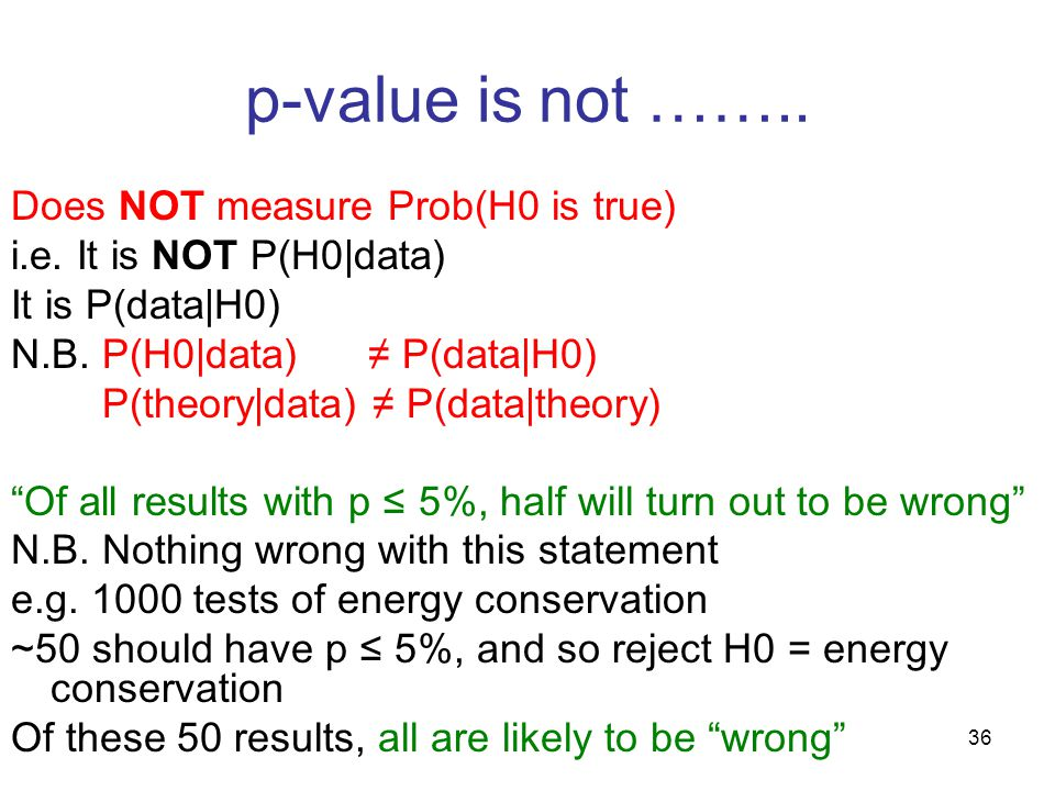 36 p-value is not …….. Does NOT measure Prob(H0 is true) i.e.